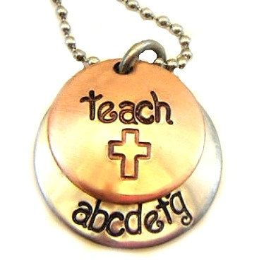 Hand Stamped Jewelry Hand Stamped Teachers by BeeBaublesJewelry