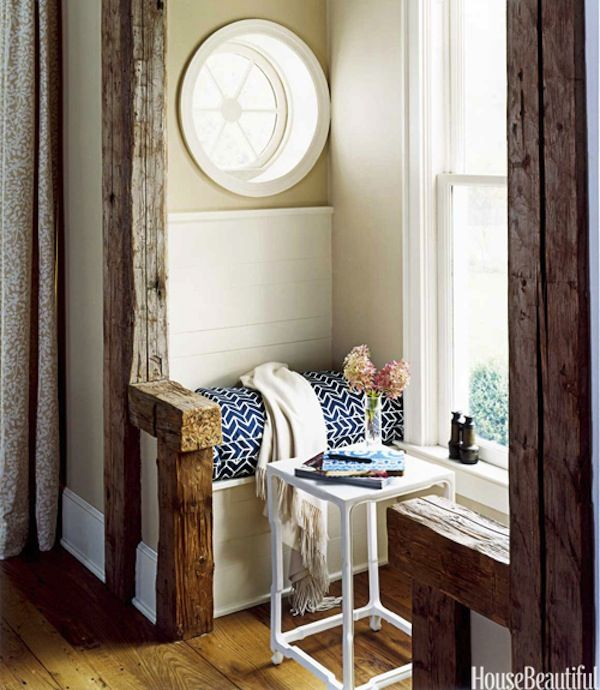 "Even the tiniest nook can be turned into a ""me moment"" retreat with this window seat: Decor, Interior, Round Window, Idea, Reading Nooks, Windowseat, House, Space, Window Seats"