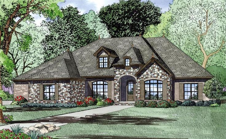 Love to look at house plans...dont ask me why!!  Elevation of Craftsman   European   House Plan 82163