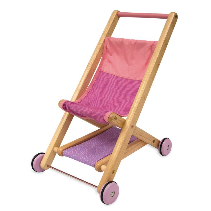 Artiwood Wooden Dolls Stroller - $77 Gorgeous sugar pink and plum detail dollie stroller made from solid wood with cute purple wheels and a soft shelf underneath.  This is a great toy for toddlers just finding their speedy feet.  They can push it along while practicing their walking skills and playing at being mummy all at the same time 19 mths +
