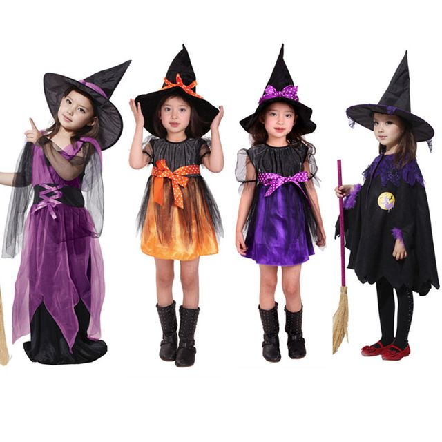 Girl Witch Dress+Hat Children's Day Costumes Princess Party Dresses Kids Children Clothing carnival halloween Cosplay Costume #Affiliate