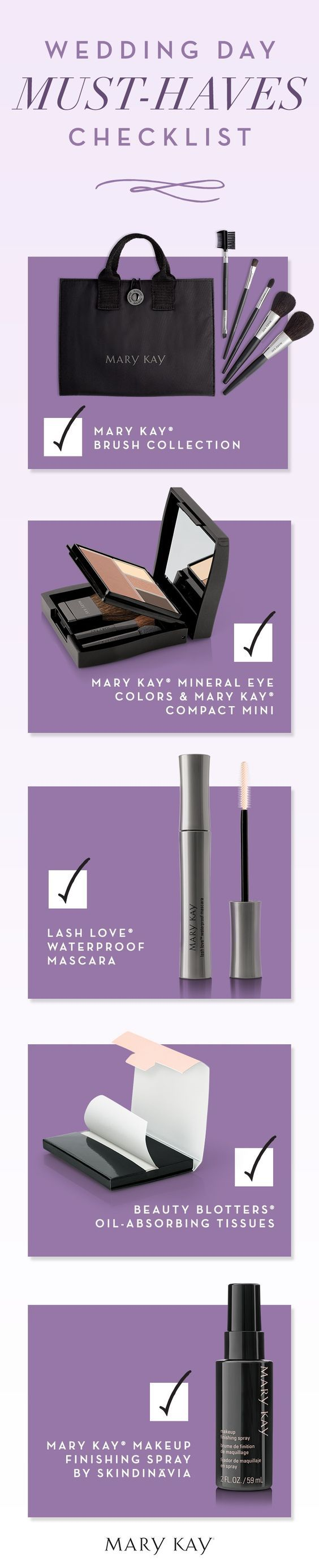 A bride has plenty to think about on her wedding day. Whether you're a bridesmaid or the gal tying the knot, don't forget to have these beauty essentials on hand for the big day! | Mary Kay