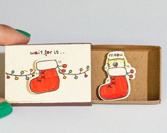 Romantic Christmas Card/ Cat Christmas Card/ Love by shop3xu