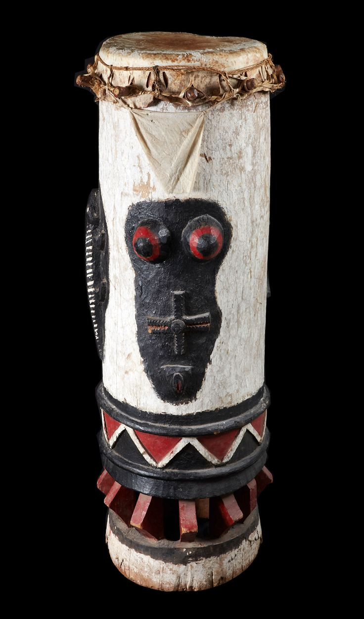 Africa | Drum from the Fon people of Benin | Wood, animal hide, polychrome pigment