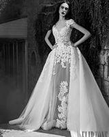Винтаж зима свадебные платья бальное платье кружевные аппликации свадебное платье со съемными поезд