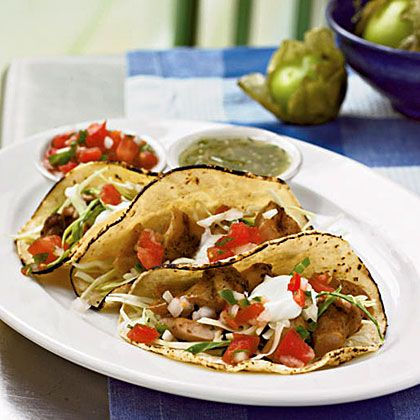 A month's worth of dinners...Dinner Tonight: April 2013...easy, delicious dinners in 45 minutes or less! Pictured here-- Soft Chicken Tacos