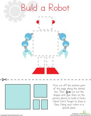 Preschool Fine Motor Skills Worksheets: Cutting Squares and Rectangles: Build a Robot Worksheet