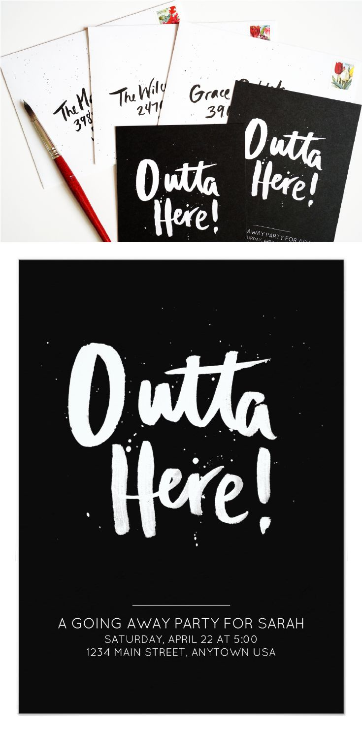 This edgy going away party invitation features hand-crafted brush lettering and fun paint splatters! Customize the background color, your name, address, and any other info.