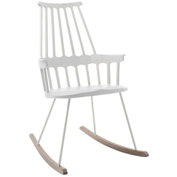 Kartell Home Comback Rocking Chair (£461) ❤ liked on Polyvore featuring home, furniture, chairs, accent chairs, white, kartell chairs, wood accent chair, wooden chairs, wood rocking chairs and wood rocker