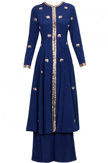navy flared kurta in silk crepe base appliqued with nakshi elephant motifs hand embroidery scattered all over. It is handcrafted with nakshi embellished front open placket, neckline and cuffs. high slit in centre front. It is paired with navy blue silk crepe palazzo pants. by 84 86