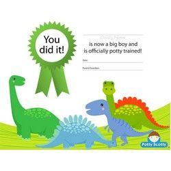 Free Dinosaur Potty Training Certificate printable