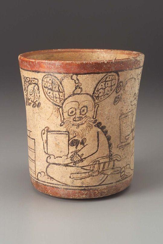 ~ Cylinder vase.  Culture: Maya  Period: Late Classic Period  Date: A.D. 680–780  Place of origin: Department of El Petén, Guatemala, El Mirador Basin.