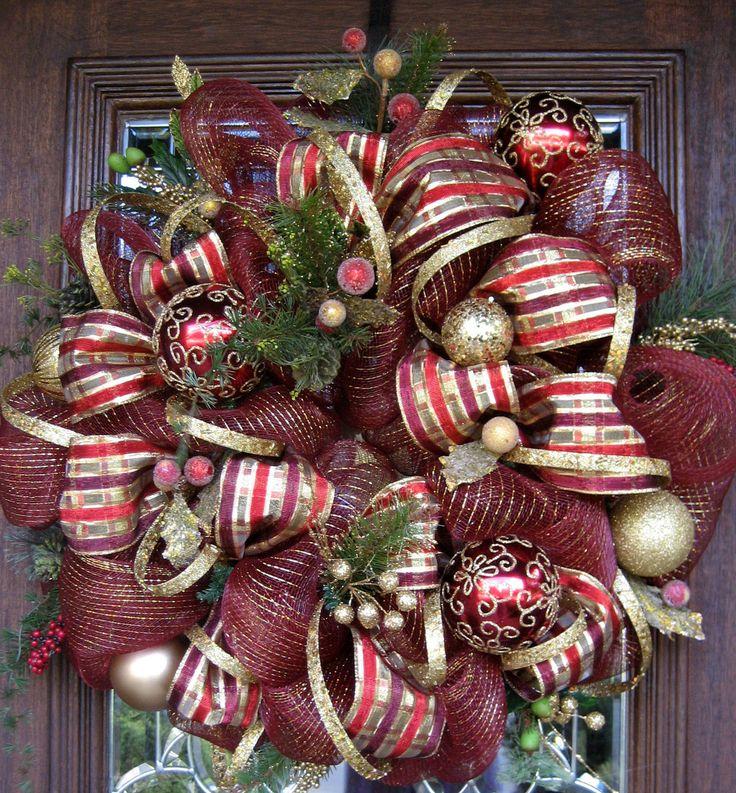 Deco Mesh Burgundy And Gold Christmas Wreath Christmas