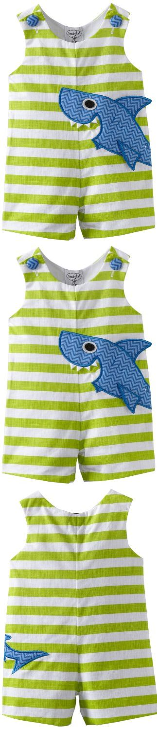 Mud Pie Baby-boys Newborn Boathouse Shark Shortall, Green/Blue, 0-6 Months - An outfit that is perfect for summer playwear, this shark shortall is a design that will be loved by boys, and adored by all who see it, textured cotton shortall with oversized shark applique featurin... - Overalls - Apparel - $18.42