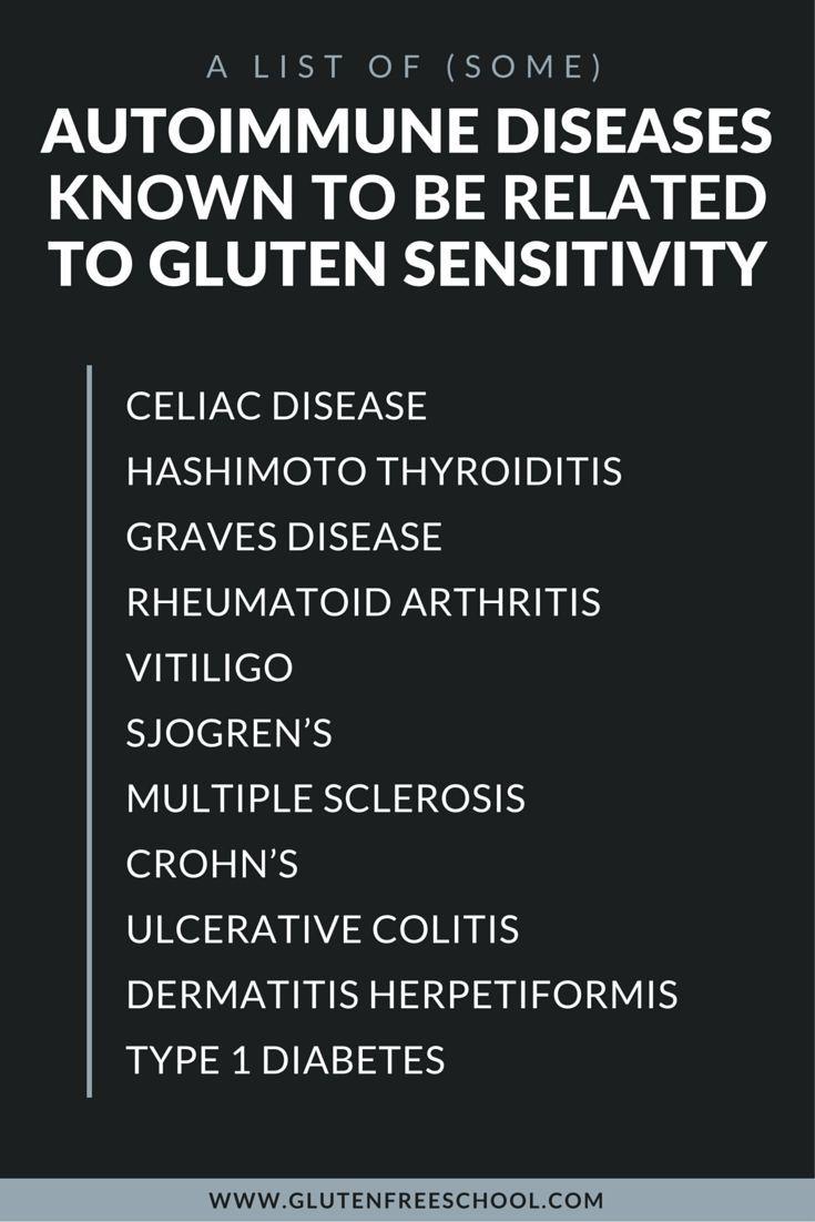here's a list of some autoimmune diseases known to be related to gluten sensitivity — Celiac Disease, Hashimoto Thyroiditis, Graves Disease, Rheumatoid Arthritis, Vitiligo, Sjogren's, Multiple Sclerosis, Crohn's, Ulcerative Colitis, Dermatitis Herpetiformis, and Type 1 Diabetes.