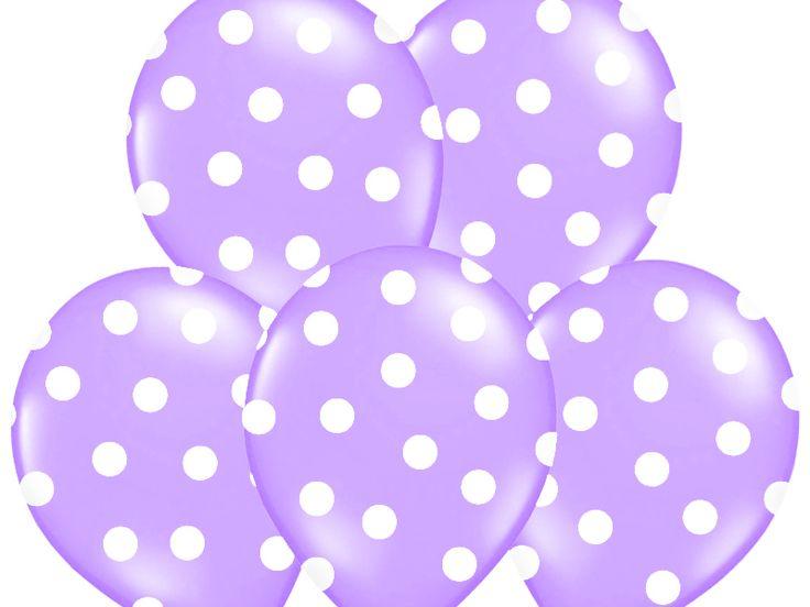 """Balon 14"""" lawendowy w białe kropki, 1 szt"""