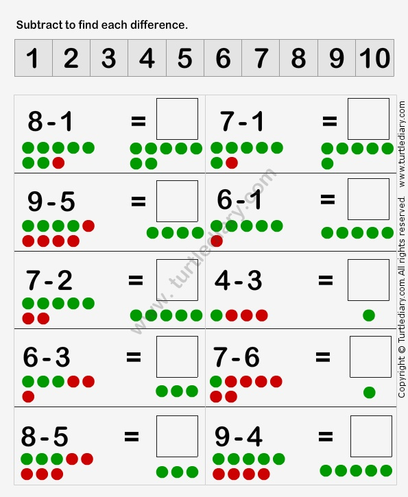 Learn to Subtract Worksheet2