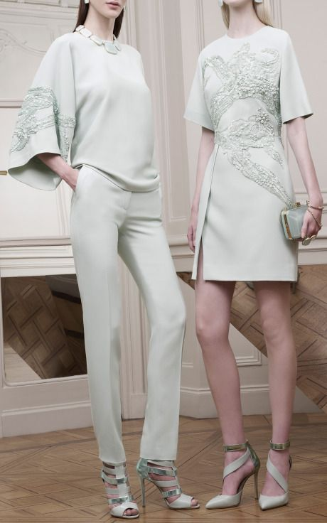 Mint Embroidered Wide Sleeve Top by Elie Saab for Preorder on Moda Operandi