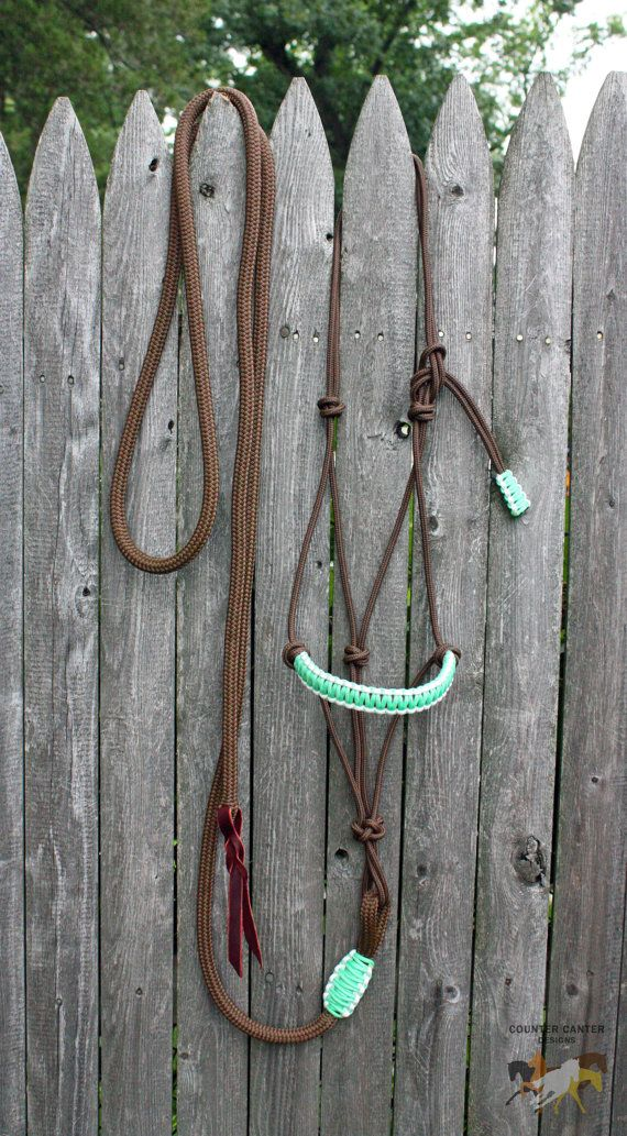 Brown/Mint Green/White Rope Halter & by CounterCanterDesigns