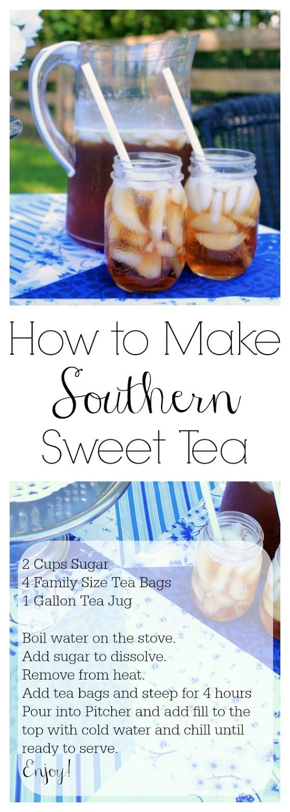 Creating an Southern outdoor escape without sewing and a recipe for true southern sweet tea!