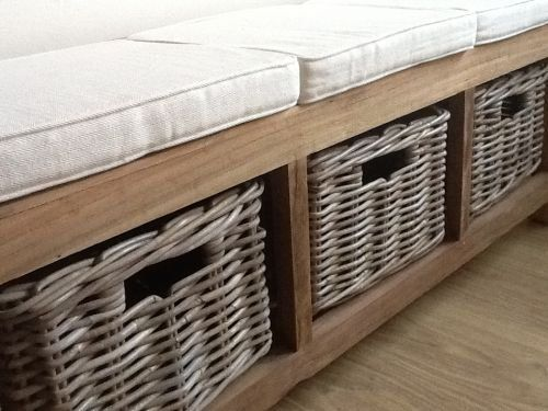 Reclaimed Teak Hall Seat Plus 3 Kubu Grey Natural Wicker Drawers Plus  Cushion , Http: Hall Storage BenchHallway ...