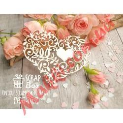 Чипборд Scrapbox Кружевное сердце с цветами и листиками 019, 74*60мм