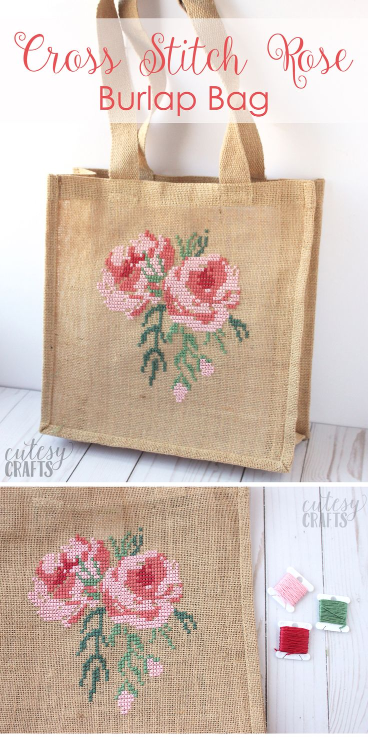 Rose Cross Stitch Burlap Bag Tutorial – The Country Chic Cottage – DIY, crafts, recipes, home decor, farmhouse style