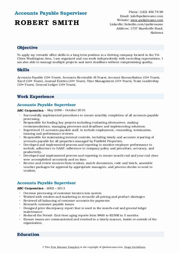 Accounts Payable Resume Objective Inspirational Accounts Payable Manager Resume Samples Accounts Payable Manager Resume Resume Objective