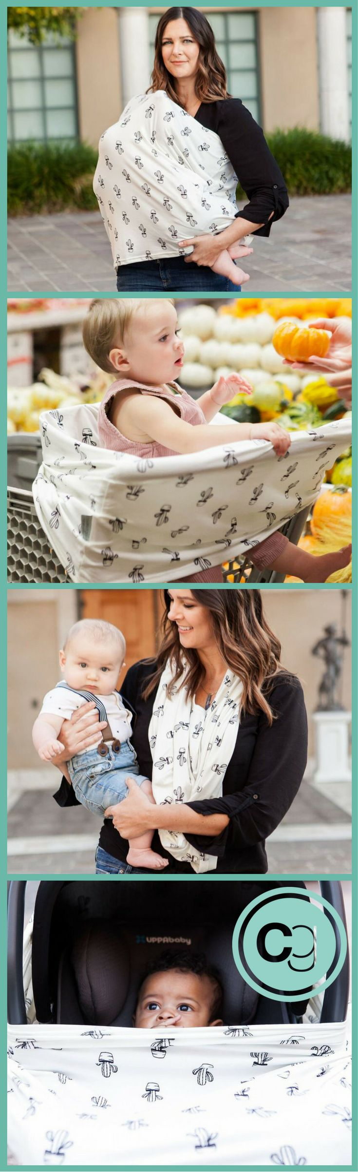 Nursing Cover, Shopping Cart Cover, Scarf and Carseat Cover. Original 4-in-1 multi-use cover for moms in our Desert Cactus pattern. Now Introducing Covered Goods in a new buttery-soft fabric we know you will just love.