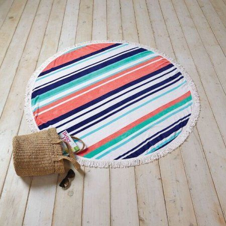 Better Homes and Gardens Variegated Stripe Round Beach Towel with Fringe