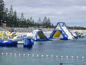 Aquatastic Water Park Busselton - great fun for the kids set up on the foreshore