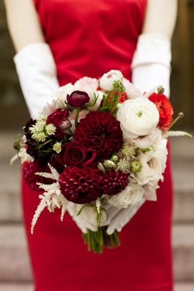 December Wedding Red Bouquets, Red Bridal Dresses, Christmas Wedding Ideas #December  Wedding Decor