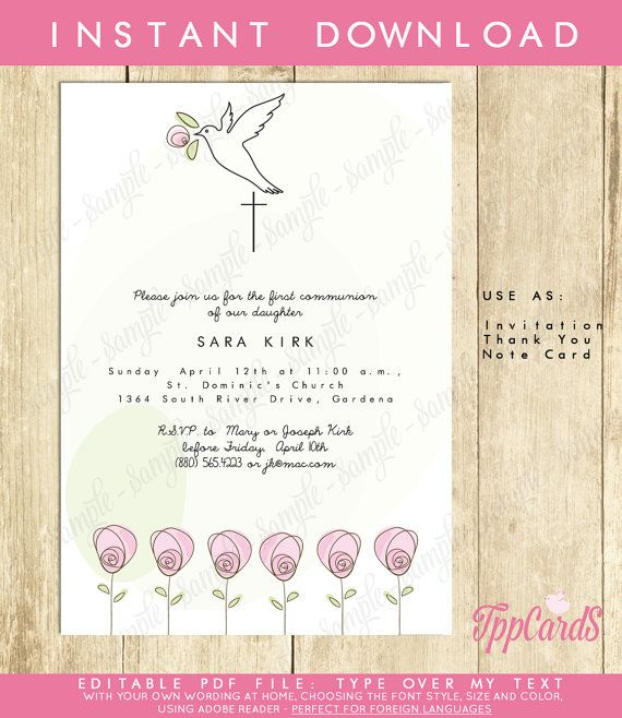 Instant Download 5x7 Dove Baptism InvitationsDIY Editable PdfFirst Communion Invite Pink Rose Confirmation Invites AUTOFILL ENABLED by TppCardS #tppcards