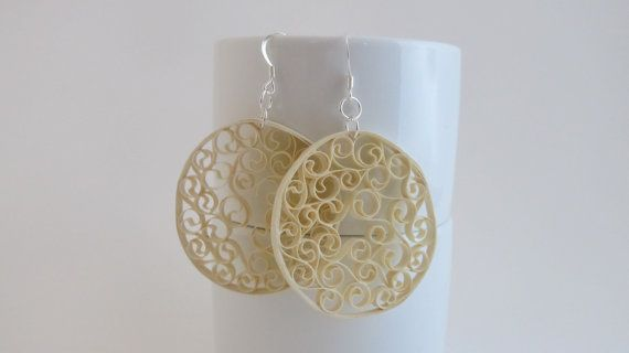 Cream Filagree Paper Earrings by DaisyGlory on Etsy