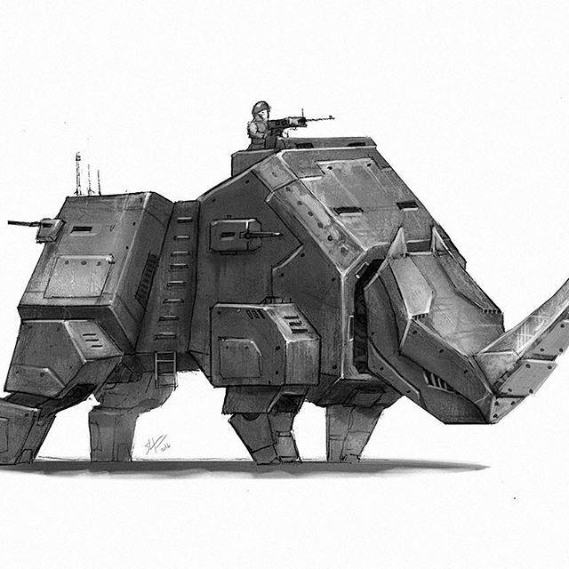 Happy Easter! Here's robot no. 27 #marchofrobots #mech #rhino #animals #robot #conceptart #illustration #instaart #instagood #art #drawing #draw #digitalart