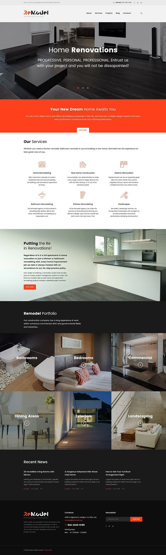 Remodeling WordPress Theme was exclusively created for remodeling, renovation architecture and interior design sites. Website slider provides for an intuitive navigation and capturing the attention, animated presentation on your site will take visitors breath away. Flashy call-to-action buttons will twice up the conversion rate and increase the profitability of your site. Thanks to clean and minimalist design, this template will help you to seamlessly guide visitors to become your clients…