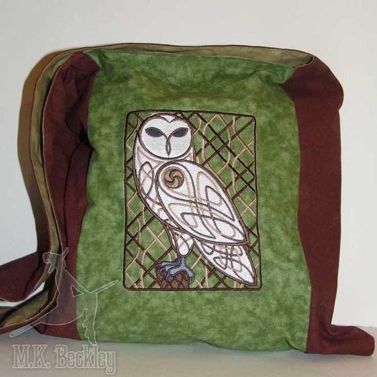 Messenger Monk Bag Sling Purse Spring Green Woodland Celtic Owl. $43.47, via Etsy.