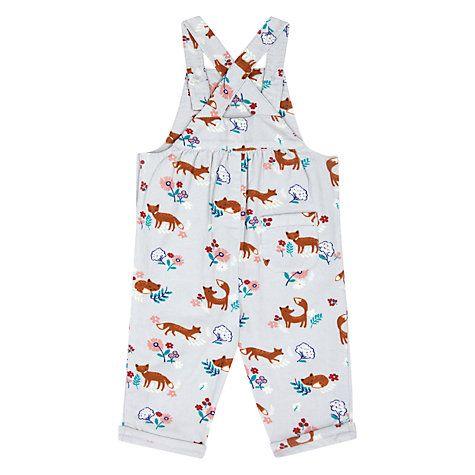 Buy John Lewis Baby Fox Corduroy Dungarees, White/Multi Online at johnlewis.com