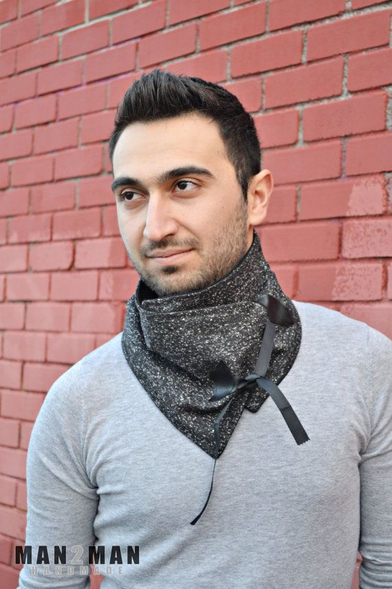 Black With White Splatters Unisex Scarf / Stylish Knitted Mens Scarf - Father's Day Perfect Gift - Handmade