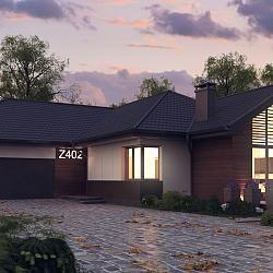 Z402 - Parterowy dom z garażem i salonem od południa.