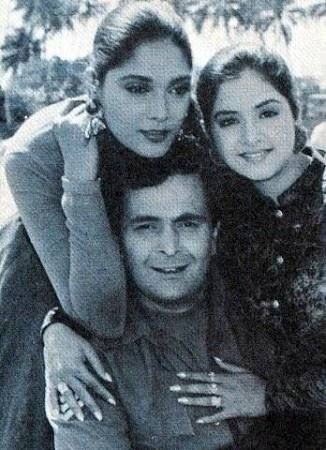 Anu Argawal, Divya Bharti and Rishi Kapoor