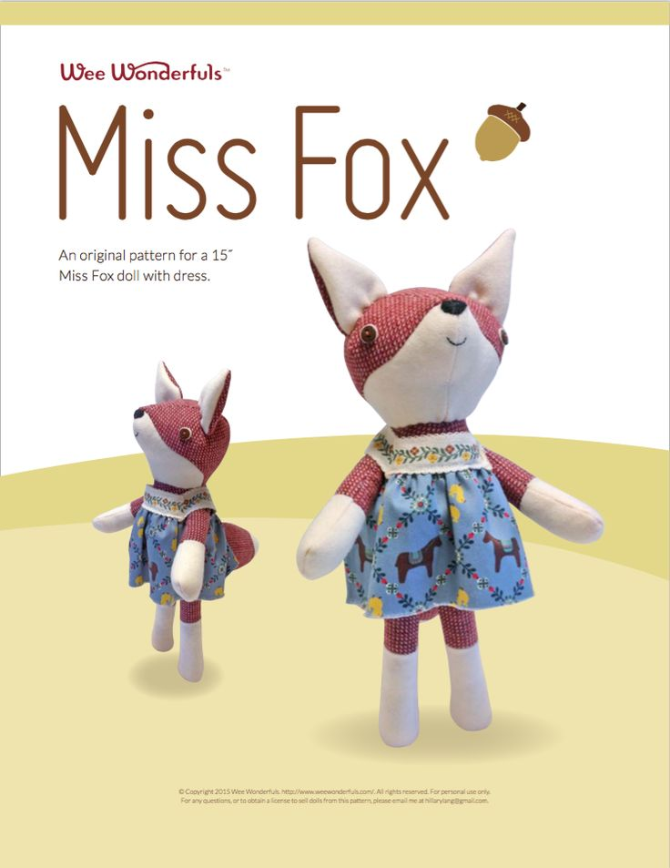 Miss Fox stuffed animal toy sewing pattern