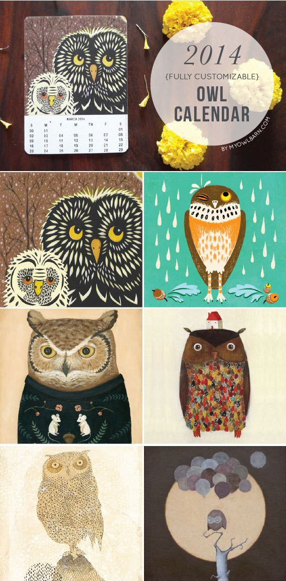 FREE Printable 2014 Owl Calendar // the owl lover calendar is a collaborative project between 50 artists from all over the world and shivani from my owl barn. all you have to do is choose which artwork you'd like for each month, download the pdf and print. it's free!