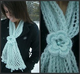 Flower Lace Scarf pattern~This is knitted, and I don't knit, but I don't really think it would be too hard to duplicate this in crochet. I love it.