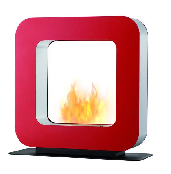 Bio Kominek CURLA ST czerwony kwadrat 70x17x74 cm, Miloo Home - Wyposażenie wnętrz