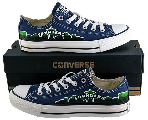 Hand Painted Converse Low Sneakers. Seattle Sounders FC. Soccer. Handpainted shoes. by GenuineTouchDesigns on Etsy https://www.etsy.com/shop/OurCufflinkShop