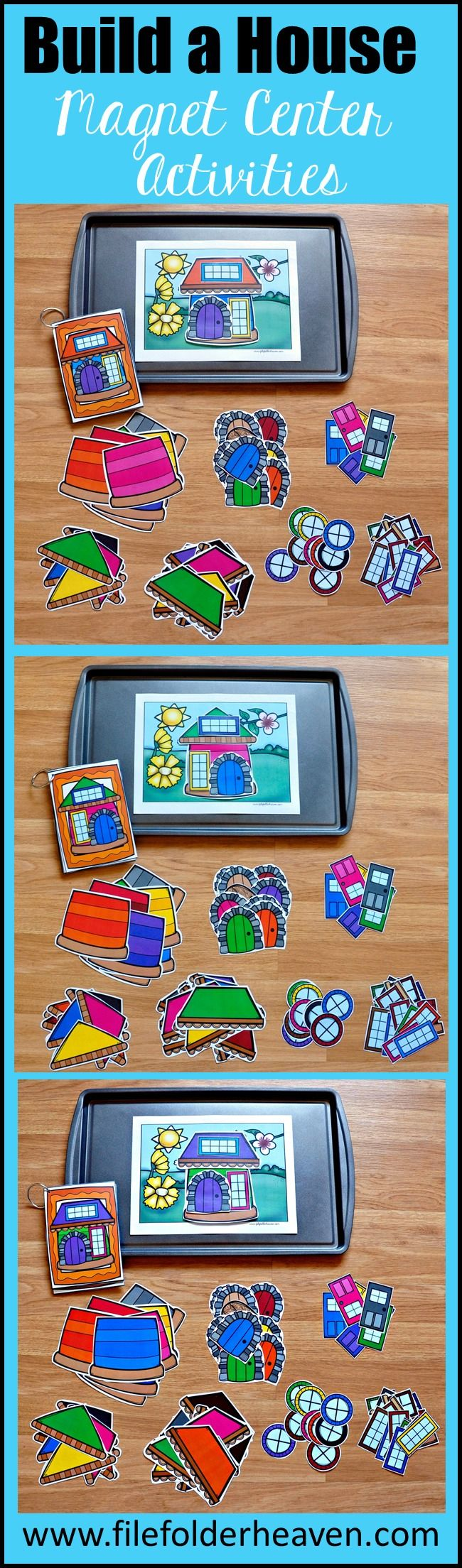 """These Build a House Center Activities can be set up as cookie sheet activities, a magnet center or completed as cut and glue activities. This activity includes: 1 background, 14 house example cards, and a big set of """"build a house"""" building pieces for creative building (all in color). In this activity, students work on visual discrimination skills, recognizing same and different, and replicating a model."""