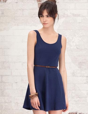 Basic navy dress with belt.