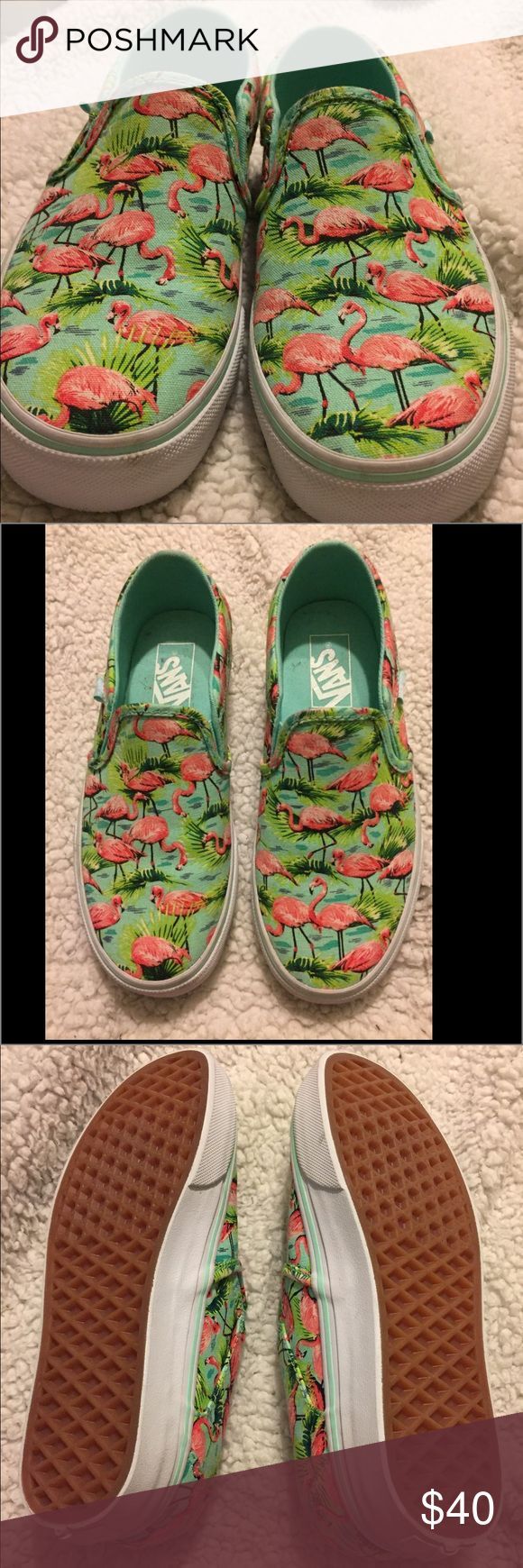 Vans tennis shoes . Brand new flamingo print  .  Very comfy . To small for me . vans Shoes Sneakers