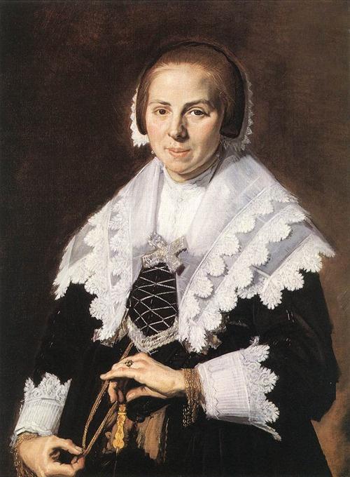 Portrait of a Woman Holding a Fan by Frans Hals  Date:1640
